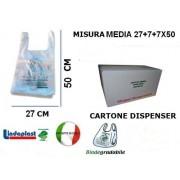 Shopper Biodegradabili Compostabili UNI 13432 medie mis. 27x50 pz. 500 gr.6,5